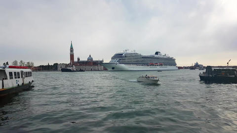 Stunning Cruise Ship In Venice Footage