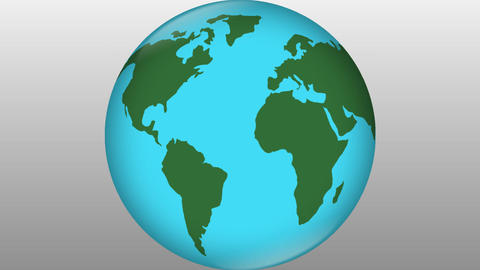 Stylized earth blue with green continents rotating on grey gradient background,  画像