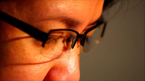 Close up shot of eyes and eyeglasses Footage
