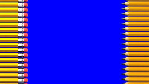 Pencils On Blue Chroma Key Animation