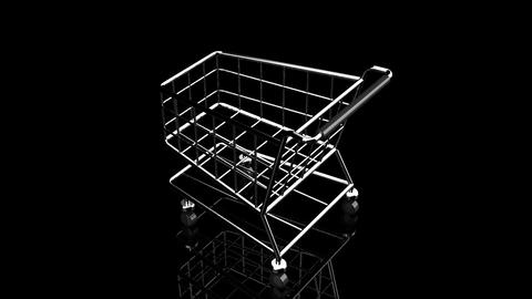 Rotated Shopping Cart On Black Background Animation