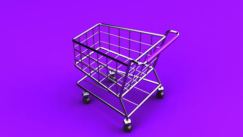 Rotated Shopping Cart On Purple Background Animation
