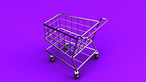 Rotated Shopping Cart On Purple Background Animation