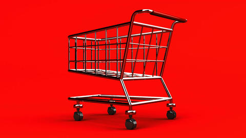 Rotated Shopping Cart On Red Background Animation