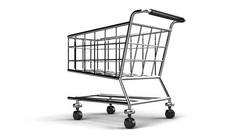 Rotated Shopping Cart On White Background Animation