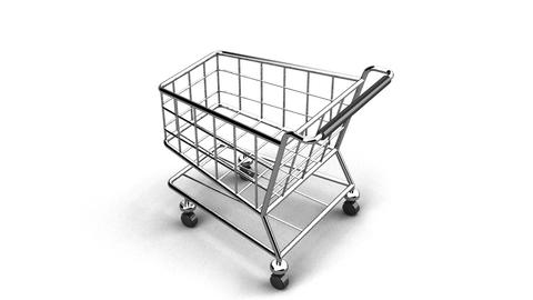 Rotated Shopping Cart On White Background Animation
