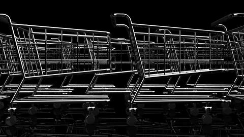 Many Shopping Carts On Black Background Animation