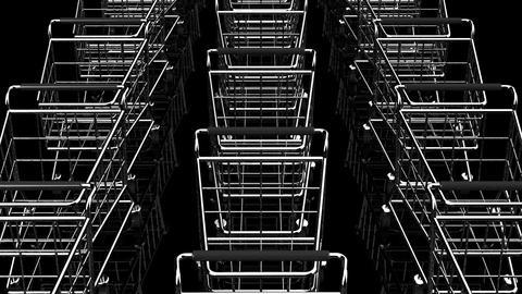 Many Shopping Carts On Black Background Animation