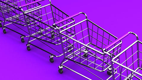 Many Shopping Carts On Purple Background Animation
