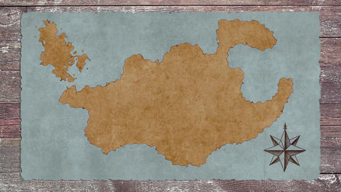A Blank Treasure Map on a Wooden Table GIF