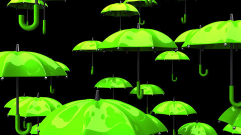 Rising Green Umbrellas On Black Background, Stock Animation