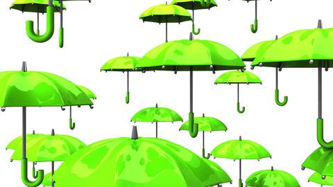 Rising Green Umbrellas On White Background Animation
