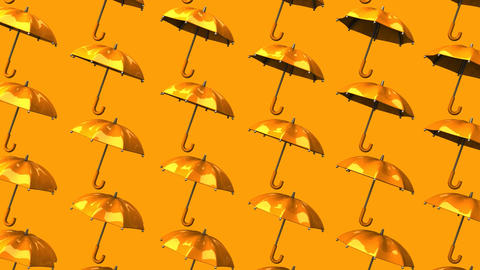 Orange Umbrellas On Orange Background Animation