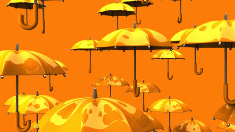 Rising Orange Umbrellas On Orange Background Animation