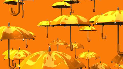 Rising Orange Umbrellas On Orange Background Animation