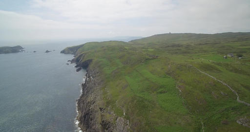 Aerial, Irish Cliffs, County Cork, Ireland Footage