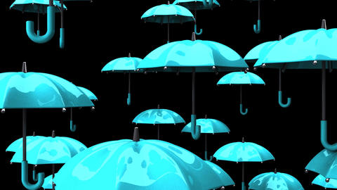 Rising Pale Blue Umbrellas On Black Background Animation