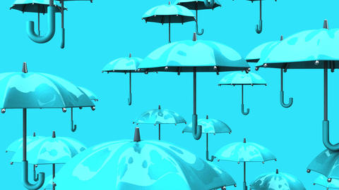 Rising Pale Blue Umbrellas On Pale Blue Background CG動画