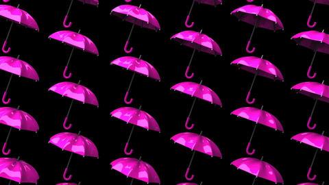 Pink Umbrellas On Black Background Animation
