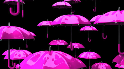 Rising Pink Umbrellas On Black Background Animation