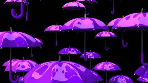 Rising Purple Umbrellas On Black Background Animation