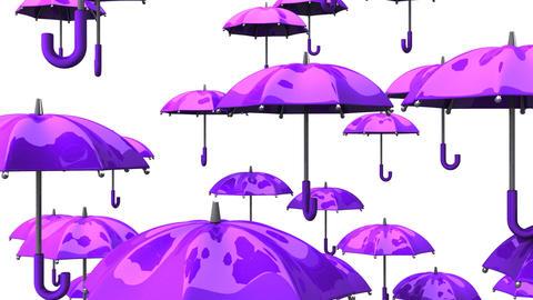 Rising Purple Umbrellas On White Background Animation