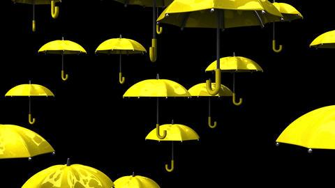 Rising Yellow Umbrellas On Black Background Stock Video Footage