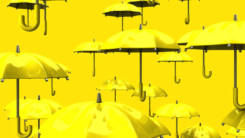 Rising Yellow Umbrellas On Yellow Background Animation