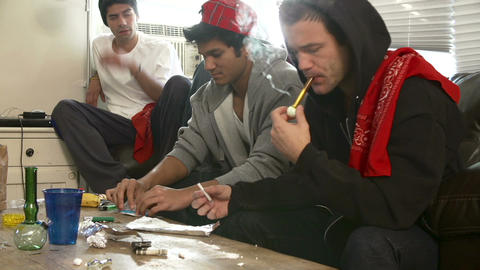 Gang Of Young Men Taking Drugs Footage