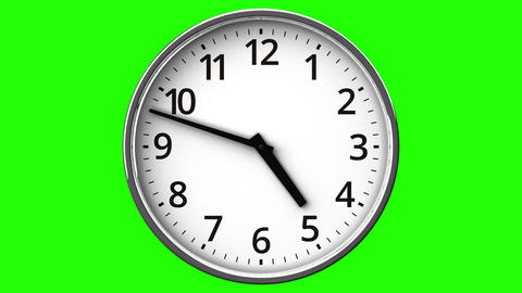 Clock On Green Chroma Key Animation