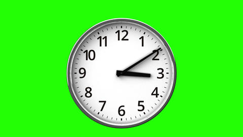 Clock On Green Chroma Key Stock Video Footage