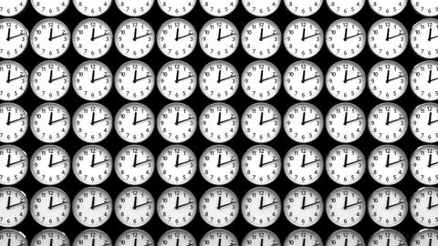 Clocks On Black Background Animation