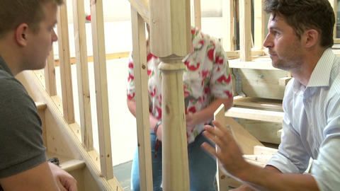 Students In Carpentry Class Working On Staircase Footage