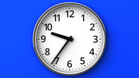Reverse Rotation Clock On Blue Wall Animation