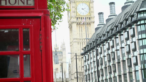 View Of Big Ben With Red Telephone Box In Foreground Live Action