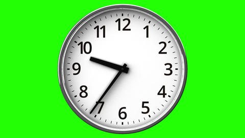 Reverse Rotation Clock On Green Chroma Key Animation