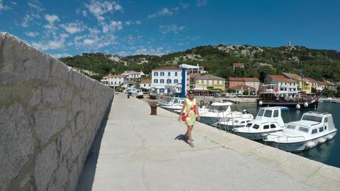 Summer walk through the sea port Footage