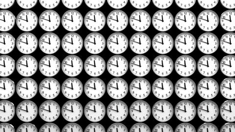 Reverse Clocks On Black Background Animation