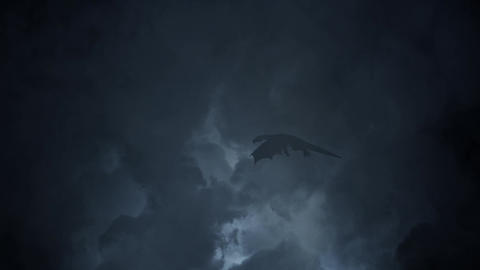 Flying Dragon Crossing the Sky Through a Lightning Storm Footage