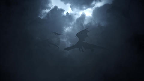 Family of Dragons Flying Through a Lightning Storm Footage