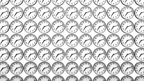 Reverse Clocks On White Background Animation