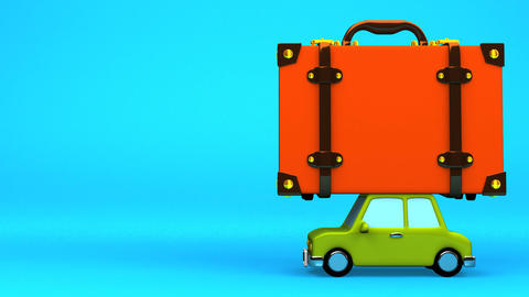 Big Travel Luggage And Car On Blue Text Space Animation