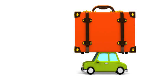 Big Travel Luggage And Car On White Text Space Animation