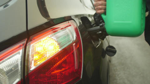 Driver Refilling Fuel Tank After Running Out Of Petrol Live Action