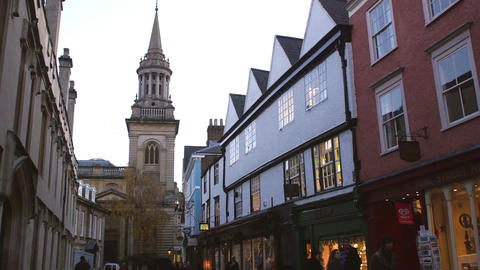 Exterior Of Shops And Church In Oxford City Centre At Dusk Live Action