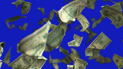 Falling Dollar money in slow motion 4K Loopable with matte mask 画像