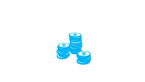 15 Coins Falling Stock Video Footage