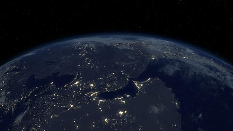 Earth from satellite. Beautiful sunrise. Earth at night... Stock Video Footage