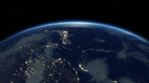 Earth From Satellite. Beautiful Sunrise. Earth At Night And In Daytime. 4K stock footage