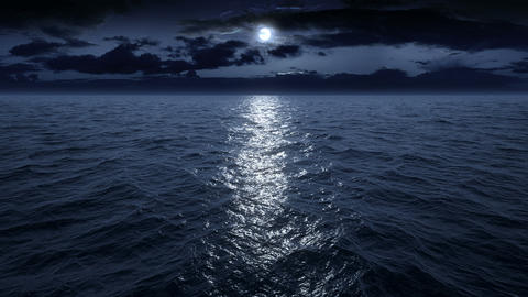 Flying over the ocean at night. Facing the moon. Full HD Stock Video Footage